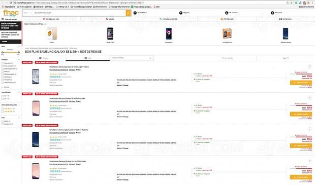 Soldes été 17, bon plan Fnac.com, smartphone Samsung Galaxy S8 et Galaxy S8+ proposé avec une remise de 100 €