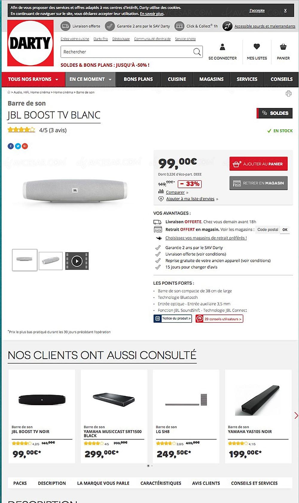 soldes t 2017 bons plans barre de son jbl boost tv 99. Black Bedroom Furniture Sets. Home Design Ideas
