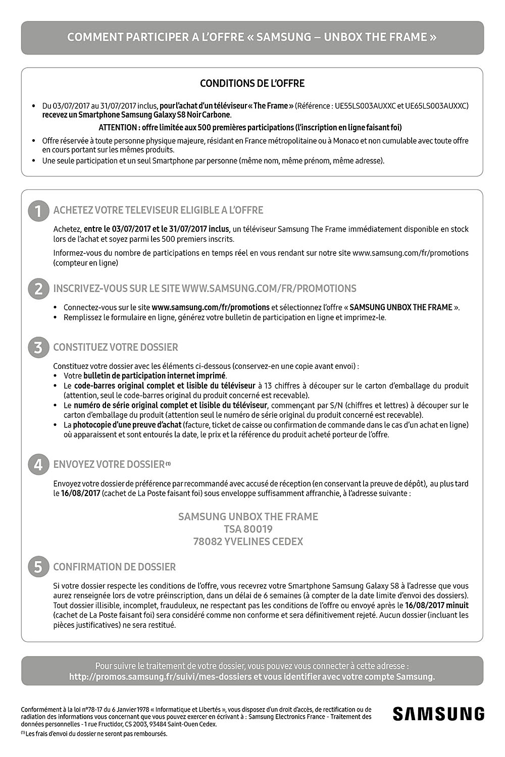 bulletin de participation samsung s8