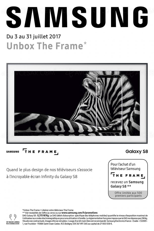 offre tv samsung the frame un smartphone galaxy s8 offert aux 500 premiers acheteurs. Black Bedroom Furniture Sets. Home Design Ideas
