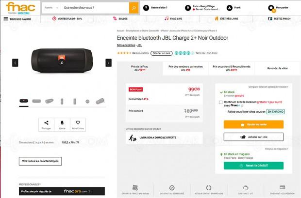 Soldes été 17, bon plan Fnac.com, enceinte Bluetooth nomade noire JBL Charge 2 -41%