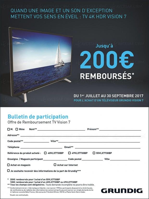 Offre de remboursement TV Ultra HD Grundig Vision 7, jusqu'à 200 € remboursés