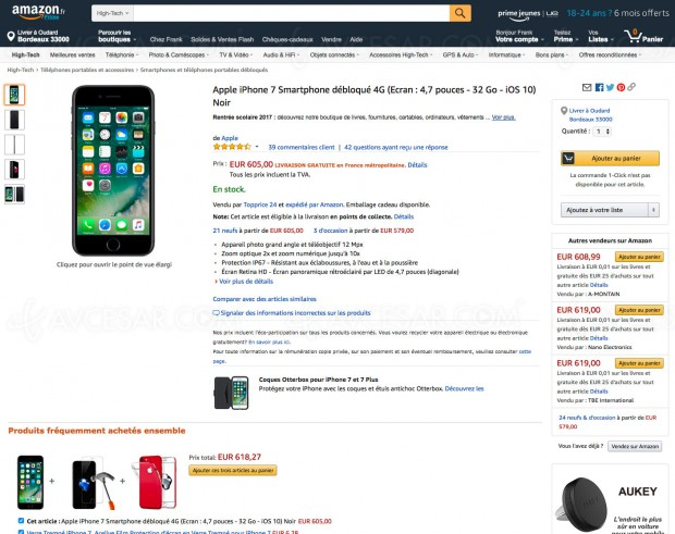Soldes été 2017, bon plan Amazon.com, smartphone Apple iPhone 7 32 Go à -21,5%