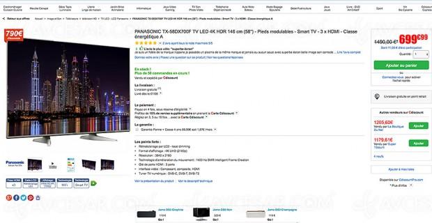 Soldes été 2017, bon plan CDiscount.com, TV Panasonic TX‑58DX700 à -53%