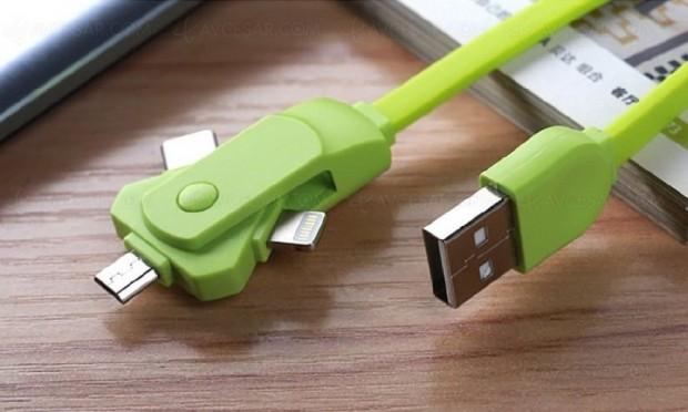 Triple câble USB Type‑C, micro‑USB, Lightning pour adaptateur 3 en 1 ingénieux