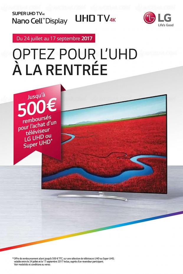 Offre de remboursement TV LED LG, jusqu'à 500 € remboursés