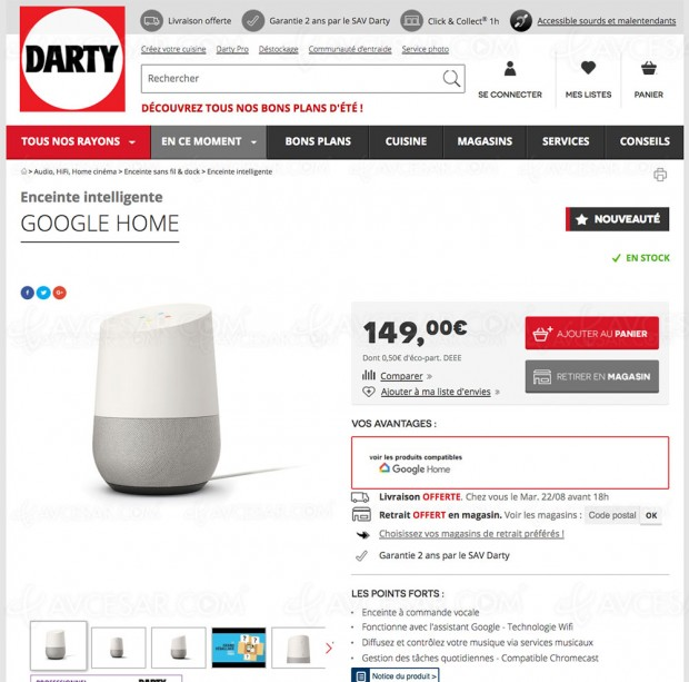 Google Home disponible en exclusivité chez Darty et à la Fnac