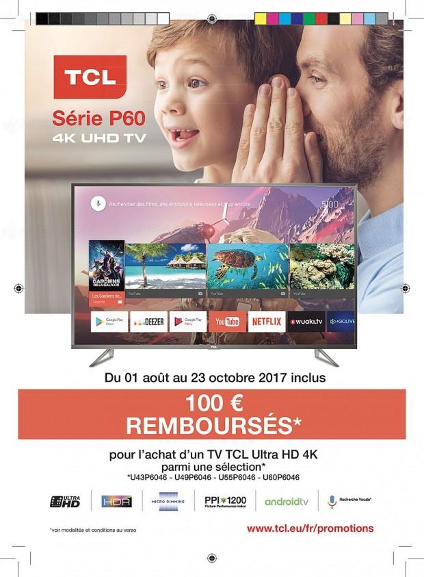 Offre de remboursement TV TCL P60, 100 € remboursés du 43'' au 60''