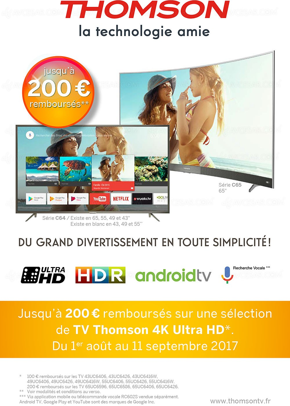 offre de remboursement tv ultra hd thomson jusqu 39 200 rembours s. Black Bedroom Furniture Sets. Home Design Ideas