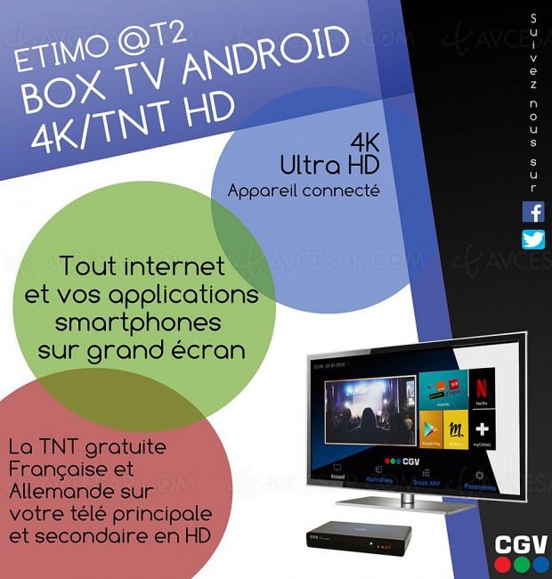 Box Android CGV Etimo@T2 + adaptateur TNT HD