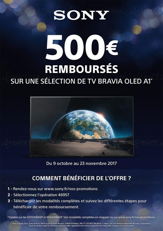 Offre de remboursement TV Ultra HD Oled Bravia Sony A1, 500 € remboursés