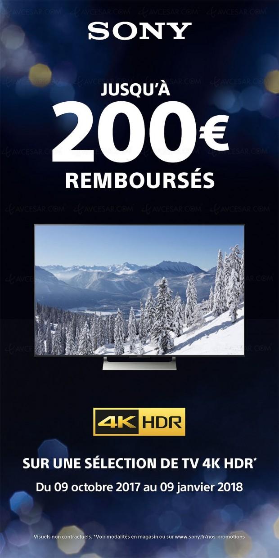 Offre de remboursement TV Sony Ultra HD HDR, jusqu'à 200 € remboursés