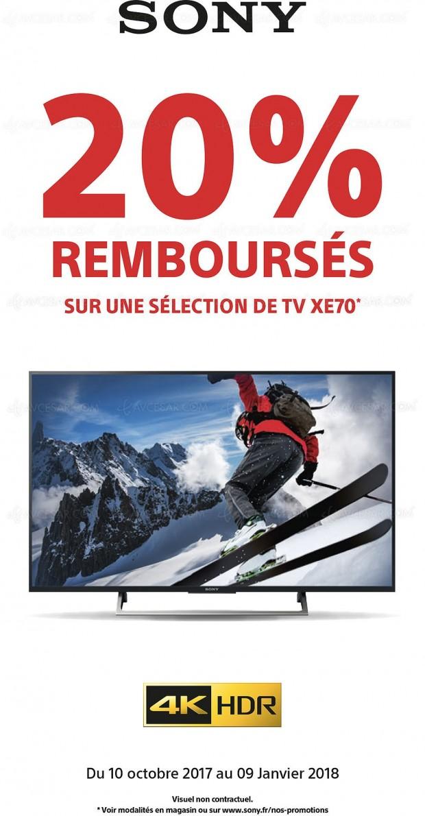 Offre de remboursement TV Sony Ultra HD XE70, 20% remboursés