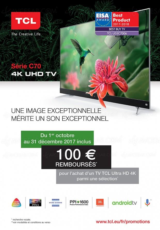 Offre de remboursement TV TCL C70, 100 € remboursés