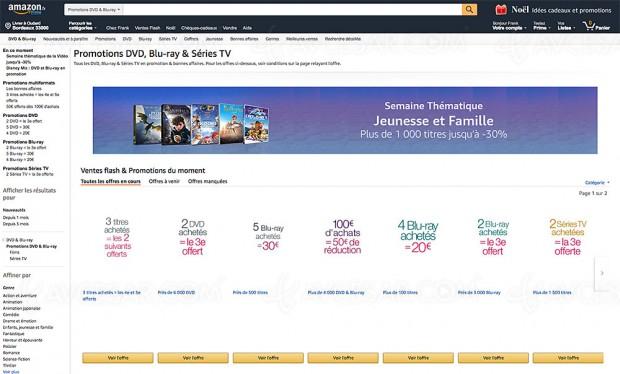 Promos Amazon sur 18 195 titres Blu‑Ray/DVD et séries TV Amazon, récapitulatif des meilleures promos du moment