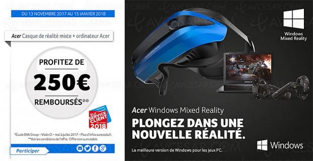 Offre de remboursement casque de réalité mixte, réalité augmentée et réalité virtuelle, signé Acer