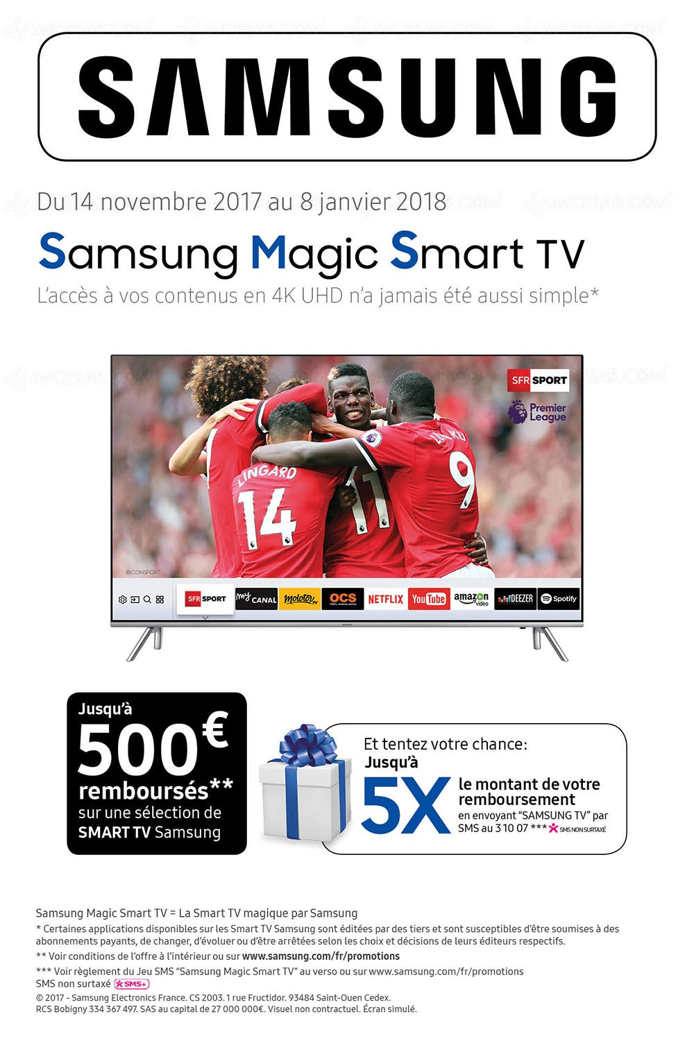 offre de remboursement samsung magic smart tv jusqu 39 500 et tentez de multiplier jusqu 39 5x. Black Bedroom Furniture Sets. Home Design Ideas