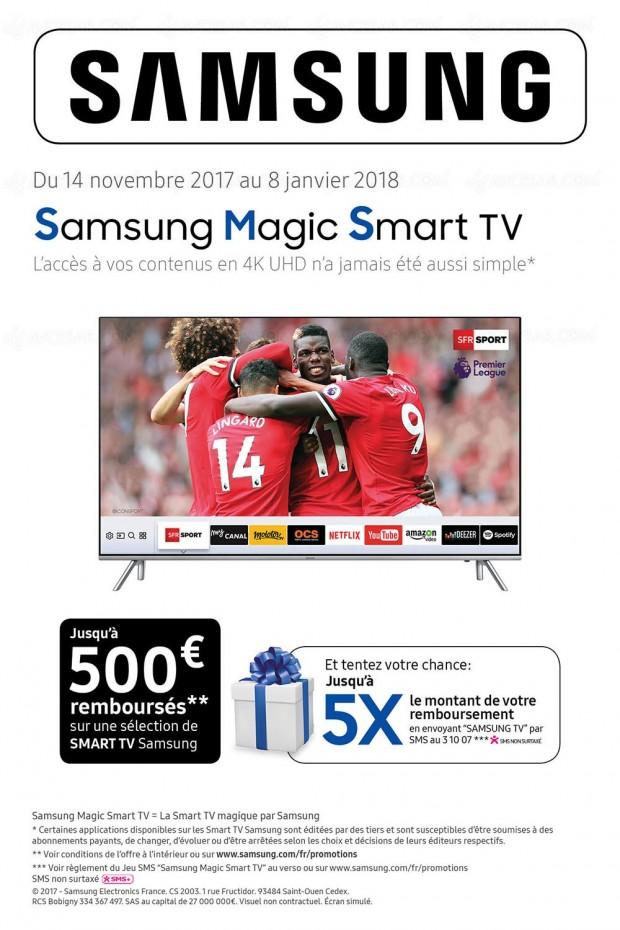 Offre de remboursement Samsung Magic Smart TV, jusqu'à 500 €, et tentez de multiplier jusqu'à 5x le montant de votre remboursement
