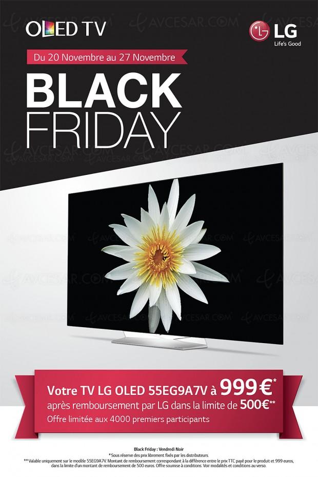 Offre de remboursement TV Oled LG Black Friday, LG 55EG9A7V à 999 €