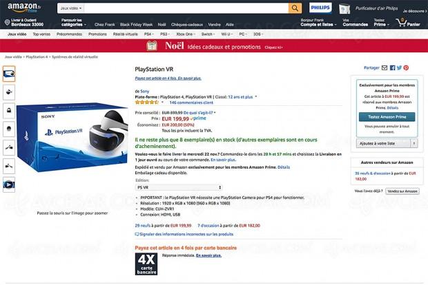 Black Friday Week Amazon, PlayStation VR à 199,99 €, soit ‑50% ou 200 € d'économie
