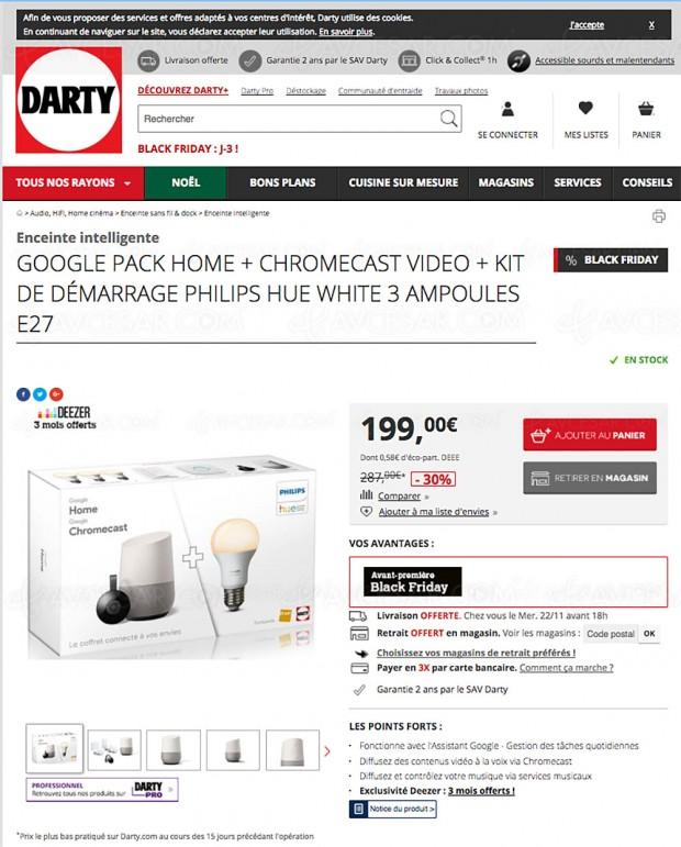 Avant-première Black Friday Darty.com, pack Google Home + kit Philips Hue 3 ampoules à ‑30%