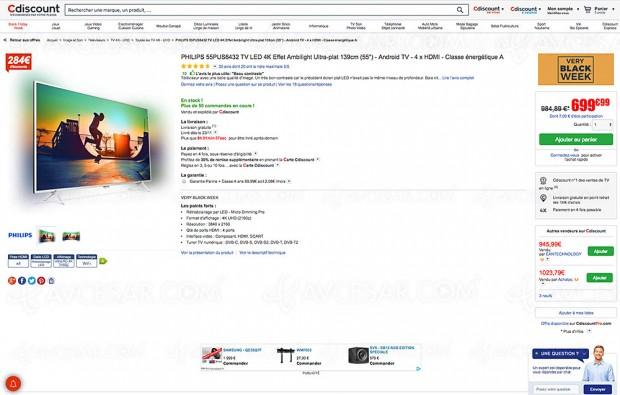 Bon plan TV LED Ultra HD Philips 55PUS6432 à -29%, soit 284 € d'économie