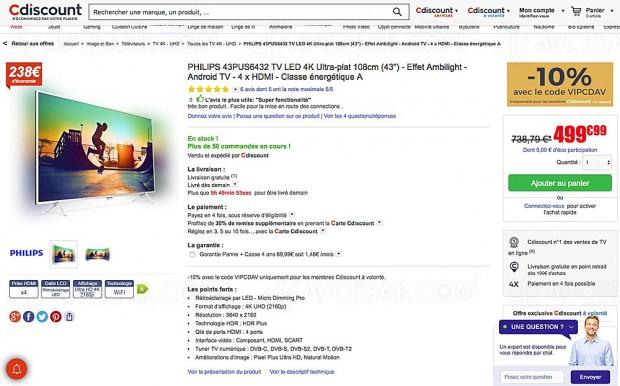 Black Friday TV LED UHD Philips 43PUS6432 à -39%, soit 289 € d'économie