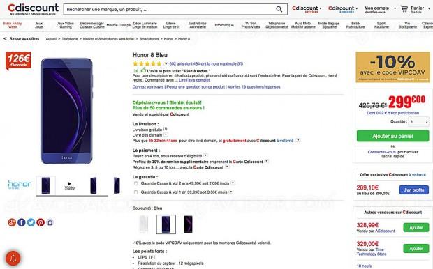 Black Friday smartphone Honor 8 à -37%, soit 156,76 € d'économie