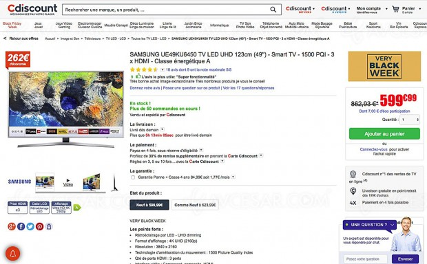 Black Friday TV LED UHD Samsung UE49KU6450 à -30%, soit 262 € d'économie