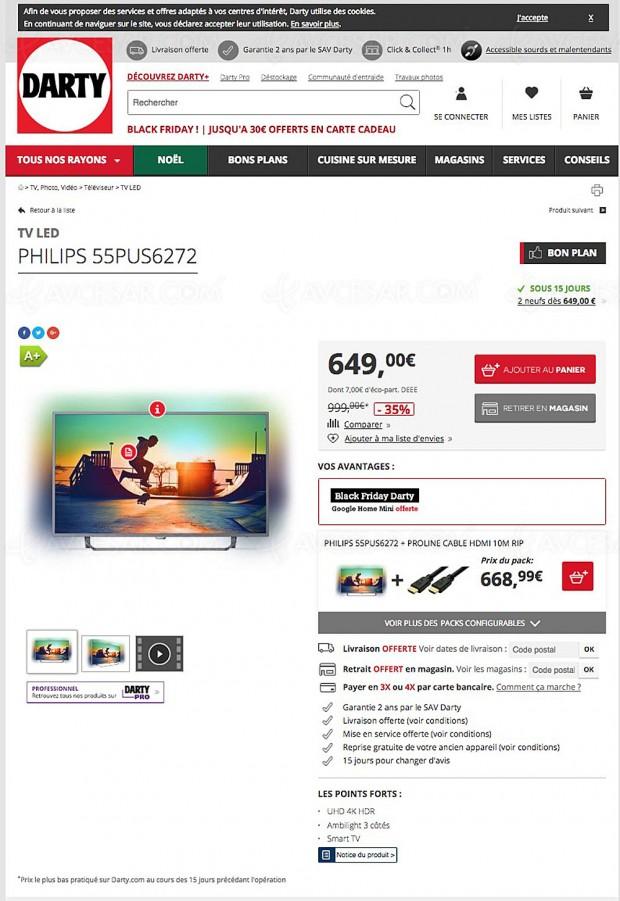 Black Friday, TV LED Ultra HD Philips 55PUS6272 à 649 €, soit ‑35% ou 350 € d'économie