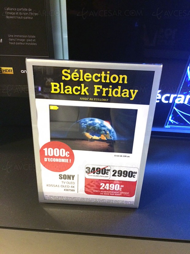 Black Friday, TV Oled Ultra HD Sony KD‑55A1 à 2 490 €, soit ‑29% environ