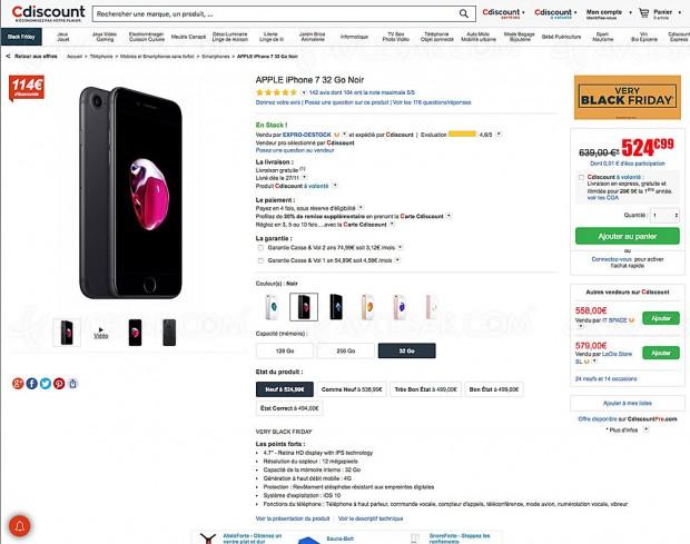 Black Friday, iPhone 7 32 Go à 524,99 €, soit -18% ou 114,01 € d'économie