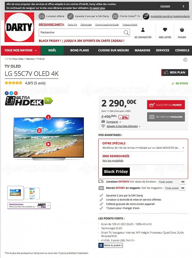 Black Friday, TV Oled LG 55C7V à 1 990 € au lieu de 2 290 euros