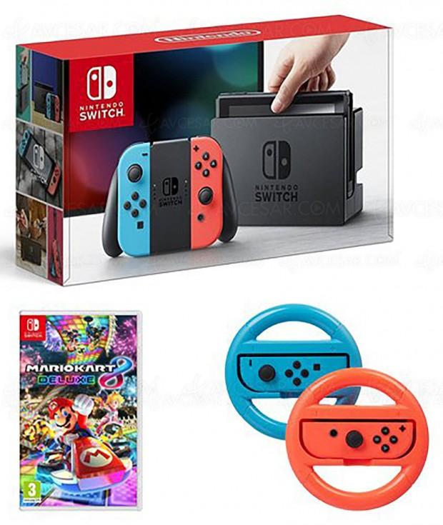 Rush de Noël, Nintendo Switch Neon + Mario Kart 8 Deluxe + 2 volants à 349,99 €