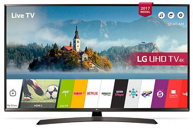 Soldes hiver 2018 Fnac, TV LED UHD LG 43UJ635V à ‑34%, soit 200 € d'économie
