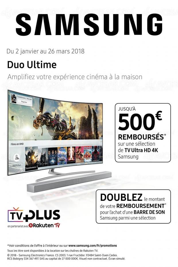 Offre Samsung TV Ultra HD, jusqu'à 500 € remboursés et doublez votre remboursement avec l'achat d'une barre sonore
