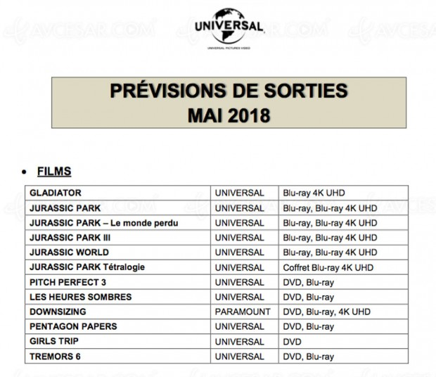 Gladiator et tétralogie Jurassic Park confirmés par Universal France en 4K Ultra HD Blu‑Ray