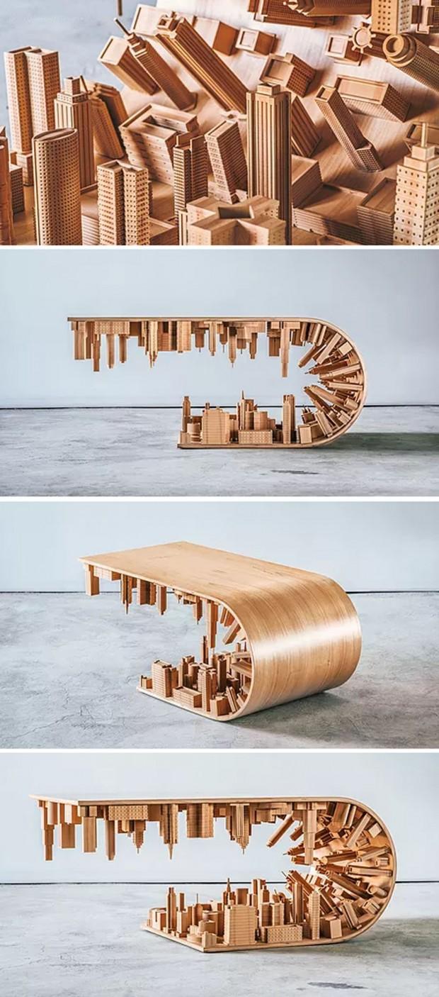 Table basse renversante inspirée par Inception de Christopher Nolan