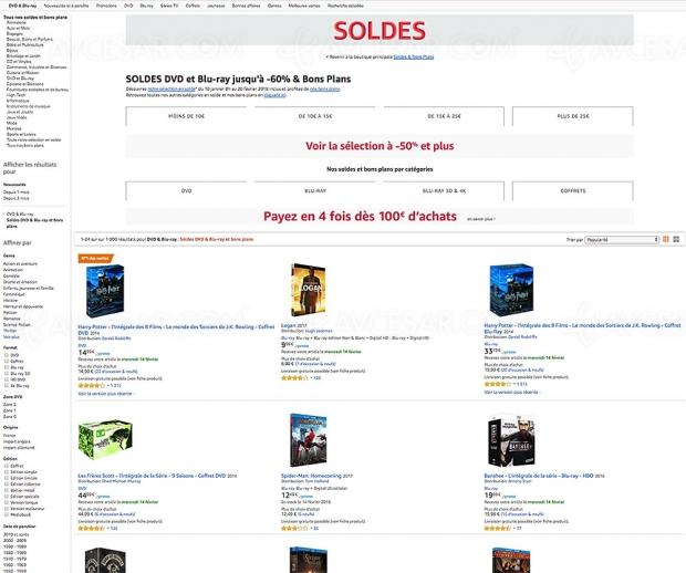 Soldes hiver 2018 Amazon, 1 000 DVD/Blu-Ray/Coffret/Séries TV jusqu'à -60%