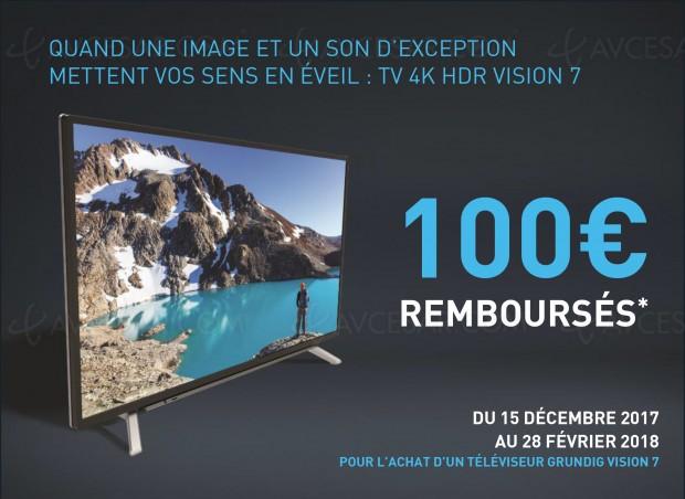 Offre de remboursement TV Ultra HD Grundig Vision 7, 100 € remboursés