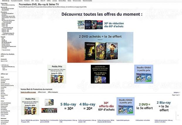 Promos Amazon sur 13 531 titres Blu‑Ray/DVD et séries TV Amazon, récapitulatif des meilleures promos du moment