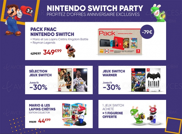Anniversaire Nintendo Switch Neon + Mario et les lapins crétins Kingdom Battle + Rayman Legends : Definitive Edition à 349,99 €