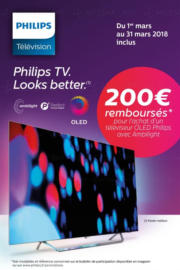 Offre de remboursement TV Oled Ultra HD Ambilight Philips 55POS9002, 200 € remboursés