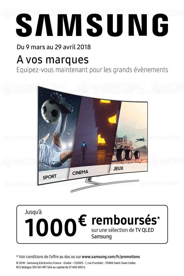 Offre de remboursement Samsung TV QLED 2017, jusqu'à 1 000 € remboursés