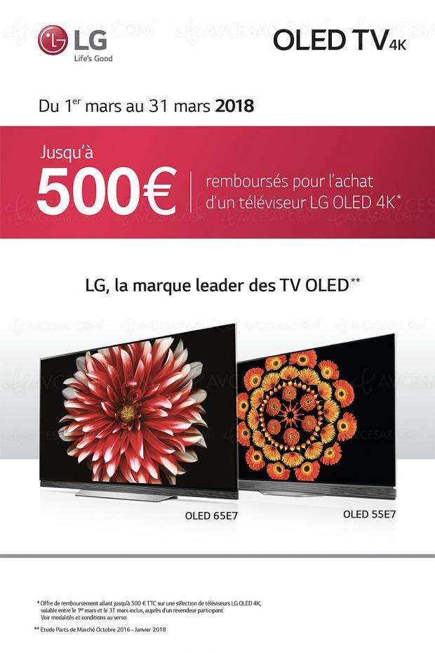 Offre de remboursement TV Oled LG E7, jusqu'à 500 € remboursés