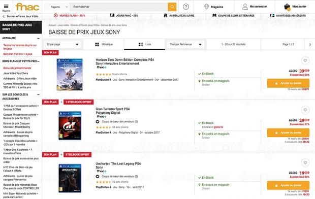 Bons plans Fnac, 32 jeux vidéo Sony PS4/PS4 Pro jusqu'à -57%