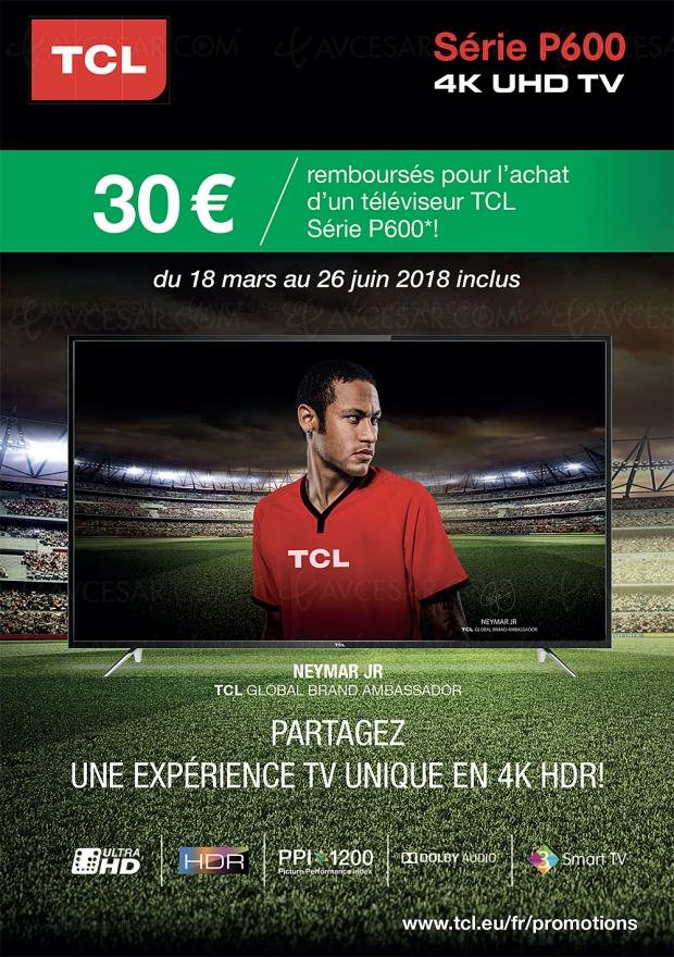 Offre de remboursement TV LED Ultra HD TCL P600, 30 € remboursés pour l'achat d'un 43''