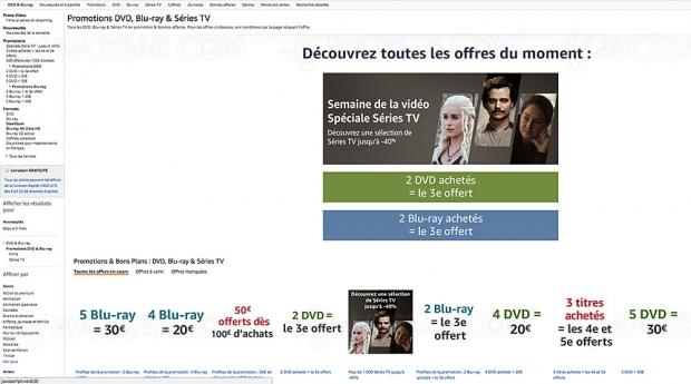 Promos Amazon sur 13 745 titres Blu‑Ray/DVD et séries TV, récapitulatif des meilleures promos du moment