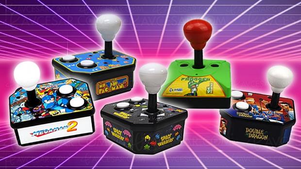 Jeux d'arcade rétro PQube Plug & Play : Space Invaders, Double Dragon, Frogger, Mega Man 2 et Ms Pac Man