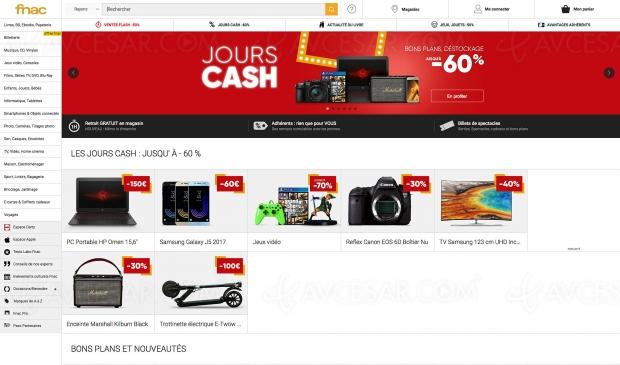 Opération Fnac Jours Cash, jusqu'à 70% de remise sur une sélection de produits : téléphonie, son, TV, prise de vue, informatique et gaming